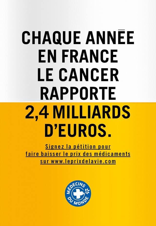 Affiche 1 de la campagne Le prix de la vie de Médecins du Monde