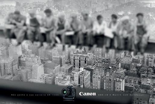 """Cliché retouché par Canon de """"Lunch Atop a Skyscraper"""""""